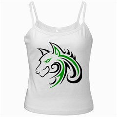 Green and Black Wolf Head Outline Facing Left Side White Spaghetti Tank
