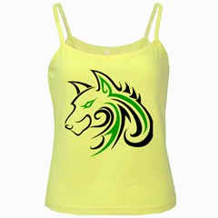 Green and Black Wolf Head Outline Facing Left Side Yellow Spaghetti Tank