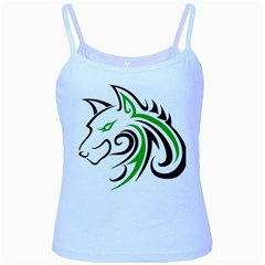 Green and Black Wolf Head Outline Facing Left Side Baby Blue Spaghetti Tank