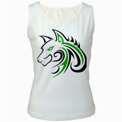 Green and Black Wolf Head Outline Facing Left Side Women s Tank Top
