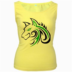 Green And Black Wolf Head Outline Facing Left Side Women s Yellow Tank Top