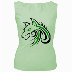 Green and Black Wolf Head Outline Facing Left Side Women s Green Tank Top