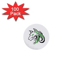 Green and Black Wolf Head Outline Facing Left Side 1  Mini Button (100 pack)