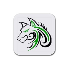 Green and Black Wolf Head Outline Facing Left Side Rubber Square Coaster (4 pack)