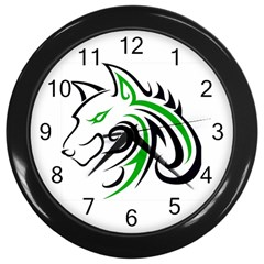 Green And Black Wolf Head Outline Facing Left Side Wall Clock (black)