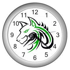 Green and Black Wolf Head Outline Facing Left Side Wall Clock (Silver)