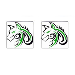 Green and Black Wolf Head Outline Facing Left Side Cufflinks (Square)