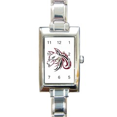 Maroon and Black Wolf Head Outline Facing Left Side Rectangular Italian Charm Watch