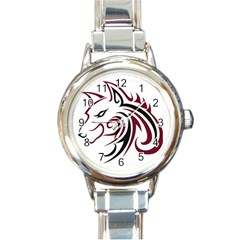 Maroon and Black Wolf Head Outline Facing Left Side Round Italian Charm Watch