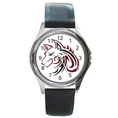 Maroon And Black Wolf Head Outline Facing Left Side Round Metal Watch