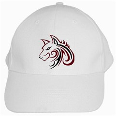 Maroon And Black Wolf Head Outline Facing Left Side White Cap