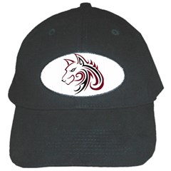 Maroon and Black Wolf Head Outline Facing Left Side Black Cap