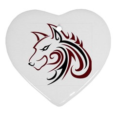 Maroon and Black Wolf Head Outline Facing Left Side Ornament (Heart)