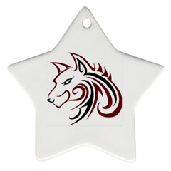 Maroon and Black Wolf Head Outline Facing Left Side Ornament (Star)