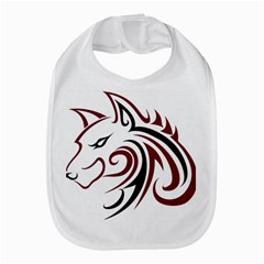 Maroon and Black Wolf Head Outline Facing Left Side Bib
