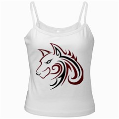 Maroon and Black Wolf Head Outline Facing Left Side White Spaghetti Tank