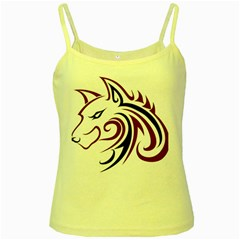 Maroon and Black Wolf Head Outline Facing Left Side Yellow Spaghetti Tank
