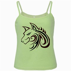 Maroon and Black Wolf Head Outline Facing Left Side Green Spaghetti Tank