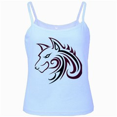 Maroon and Black Wolf Head Outline Facing Left Side Baby Blue Spaghetti Tank