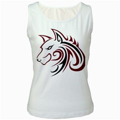 Maroon and Black Wolf Head Outline Facing Left Side Women s Tank Top