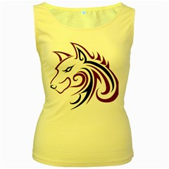 Maroon and Black Wolf Head Outline Facing Left Side Women s Yellow Tank Top