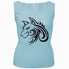 Maroon and Black Wolf Head Outline Facing Left Side Women s Baby Blue Tank Top
