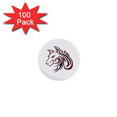 Maroon And Black Wolf Head Outline Facing Left Side 1  Mini Button (100 Pack)