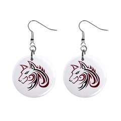 Maroon and Black Wolf Head Outline Facing Left Side 1  Button Earrings