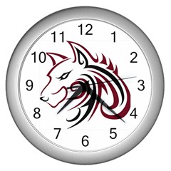 Maroon And Black Wolf Head Outline Facing Left Side Wall Clock (silver)
