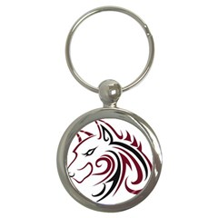 Maroon and Black Wolf Head Outline Facing Left Side Key Chain (Round)