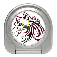 Maroon and Black Wolf Head Outline Facing Left Side Travel Alarm Clock