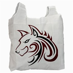 Maroon and Black Wolf Head Outline Facing Left Side Recycle Bag (One Side)