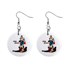 Stay Down Boxing 1  Button Earrings