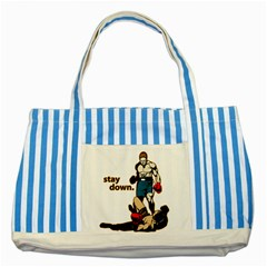 Stay Down Boxing Striped Blue Tote Bag