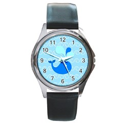 Playing In The Waves Round Leather Watch (Silver Rim)