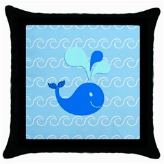 Playing In The Waves Black Throw Pillow Case