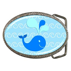 Playing In The Waves Belt Buckle (oval)