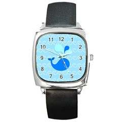 Playing In The Waves Square Leather Watch