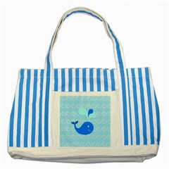 Playing In The Waves Blue Striped Tote Bag