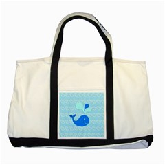 Playing In The Waves Two Toned Tote Bag