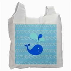 Playing In The Waves White Reusable Bag (One Side)