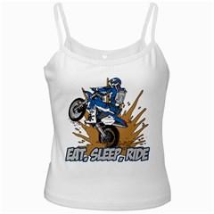 Eat Sleep Ride Motocross White Spaghetti Tank