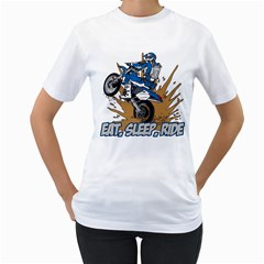 Eat Sleep Ride Motocross Women s T-Shirt (White)