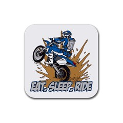 Eat Sleep Ride Motocross Rubber Square Coaster (4 pack)