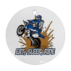 Eat Sleep Ride Motocross Round Ornament (Two Sides)