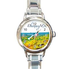 Chimney Rock Overlook Air Brushed Round Italian Charm Watch