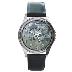 Once Upon A Time Round Leather Watch (Silver Rim)