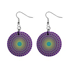 Radial Mandala Mini Button Earrings