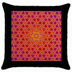 Radial Flower Black Throw Pillow Case