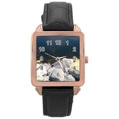 Atlantic Ocean Rose Gold Leather Watch